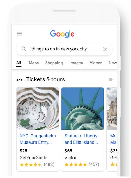 google ads updates september 2021: dingen om te doen voorbeelden van reisadvertenties