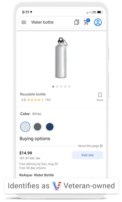 Google Ads-updates september 2021: kenmerk van veteraan in Google Shopping-advertentie