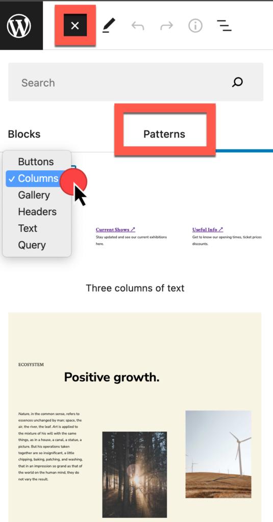 Blok invoegen, selecteer het tabblad Patronen, selecteer de vervolgkeuzelijst voor patrooncategorieën en bekijk een voorbeeld van de patroonkeuzes