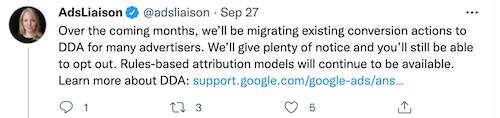 tweet van ginny marvin: google migreert een aantal bestaande conversieacties naar gegevensgestuurde attributie