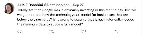 julie bacchini tweet over datadrempel voor datagedreven attributie