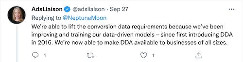 ginny marvin tweet over verbeteringen in data-gedreven attributie