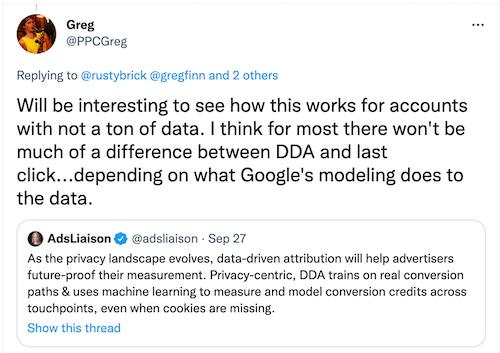 @ppcgreg tweet over last-click vs data-driven attributie voor kleine accounts