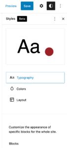 Algemene stijlen configureren in de volledige site-editor