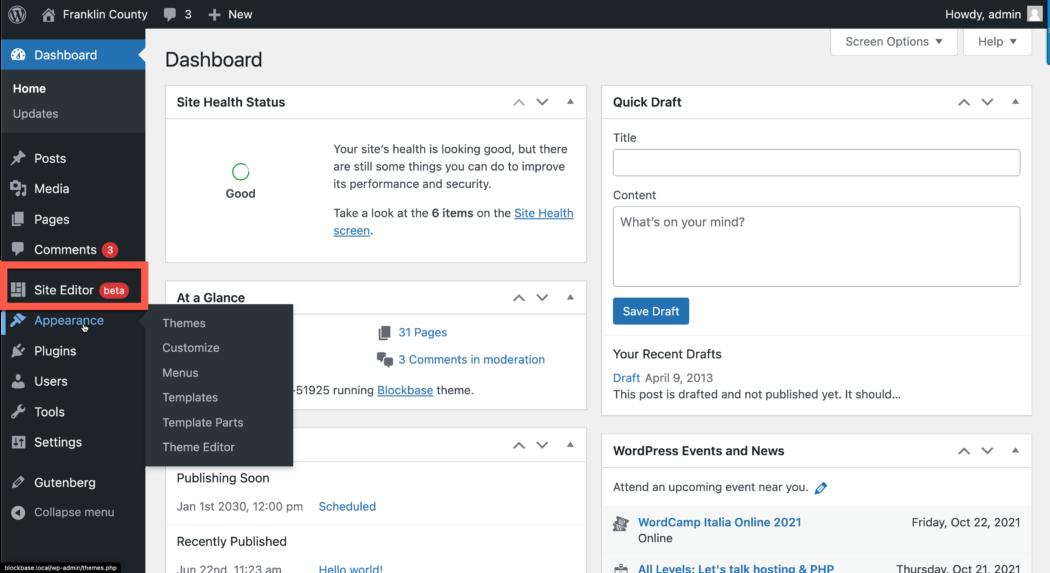 WordPress-dashboardinterface voor beheerders met de volledige site-editor